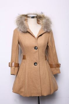 Slim was thin hooded coat with fur collar-40%wool, 60%polyester-$50.52