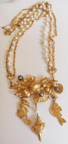 vintage sea life | Vintage Napier Larger Than Life Sea Creatures Figural Necklace