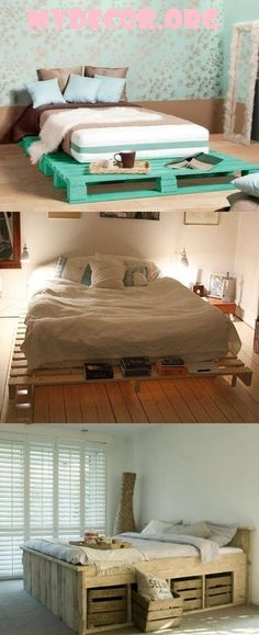 Pallets furniture ideas are unique and almost all types of furniture can be constructed using pallets wood. When it comes to have most comfortable and stylish beds in your bedroom, you can surely make use of pallets wood to construct durable, comfortable and stylish beds. Variety of attractive... #palletfurniturebedroom #uniquefurnitureideas