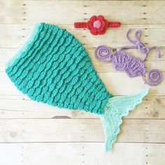 Crochet Baby Mermaid Tail Set Ariel Disney Inspired Newborn Infant Photography Photo Prop Costume Handmade Baby Shower Gift