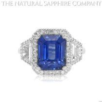 6.47ct Natural Untreated Emerald Cut Blue Sapphire in a 18k White Gold Ring with 1.09cts of Diamonds   Price: $44,000.00  http://astore.amazon.com/greabengagementring-20/detail/B00EKZJDMW