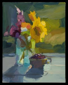 Christine Lafuente Oil on linen Site Design, Cherries, Wildflowers, Garden Art, Still Life, Contemporary Art, Art Photography, Abstract Art, Pastel