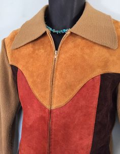 70's Suede Front Zip-Up Gold Sweater Jacket by DynamiteDudsVintage