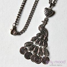 ★ Tibetan Silver Peacock Necklace (90 cm)