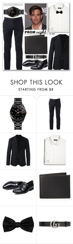"""""""The Perfect Prom Night: 03/04/17"""" by solyda-sok ❤ liked on Polyvore featuring Rado, Urban Pipeline, Emporio Armani, Saks Fifth Avenue, The Men's Store, Gucci, men's fashion and menswear"""
