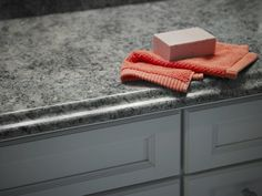Bathroom with Formica® laminate Perlato Granite vanity top Click through to get a free sample of Perlato Granite Formica Laminate, Granite Vanity Tops, Reception Desks, Countertops, Flooring, Patterns, Bathroom, Building, Kitchen
