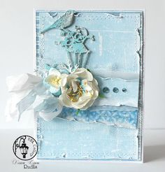 Homemade card this is the second Blue card in a collection of three.  Beautiful