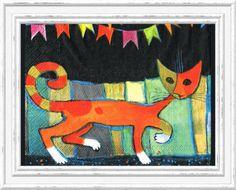 TWO Paper Napkins for Decoupage CAT WALK 33cm by LanternsByTamara