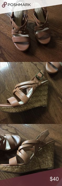 Jessica Simpson tan wedges size 8.5 Jessica Simpson tan wedges in size 8.5! True to size! Worn one time very cute! Jessica Simpson Shoes Wedges