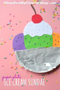 Paper Plate Ice Cream Sundae - Kid Craft ! We made these and they were so FUN ! My Nieces Loved Them !!