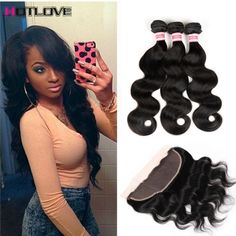 8A Peruvian Virgin Hair With Lace Frontal Closure 13x4 full Lace Closure Ear To Ear With 3 Bundles Body Wave Frontal With Bundle ** You can find out more details at the link of the image.