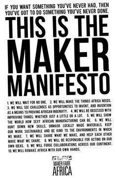 Maker Manifesto. Maker Faire Africa.