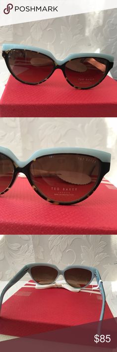 🎀TED BAKER London cat eye sunglasses Authentic New Authentic Ted Baker London  Womens Tortoise Blue Trim semi Cat Eye Sunglasses B576 59□12 135 Mm, designer shades.  100% UV Protection No case included Ted Baker Accessories Glasses