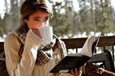 book, girl, and coffee imageの画像