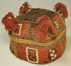 Four-Cornered Hat Date: century Geography: Peru Culture: Wari Medium: Camelid hair Dimensions: H. Hat Patterns To Sew, Color Patterns, Sewing Patterns, Peru Culture, Maker Culture, Wolf Hat, Peruvian Textiles, Cleveland Museum Of Art, Animal Hats