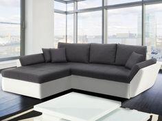 Canapé d'angle convertible en tissu et simili SIVAS - Blanc et gris - Angle gauche