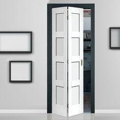 Shaker White Primed 4 Panel Bifold Door. #bifolddoor #internalfoldingdoor #whitedoor