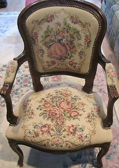 Antique Victorian Needlepoint Armchair