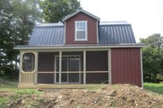 I wanted to show you the possibilities today with this two-story Dutch cabin with a porch. It's built by The Amish Barn Company in Oneonta, New York as a barn but… Shed Cabin, Tiny House Cabin, Cabin Plans, Farm House, Shed Homes, Cabin Homes, Tiny Homes, Cabins For Sale, Cabins And Cottages
