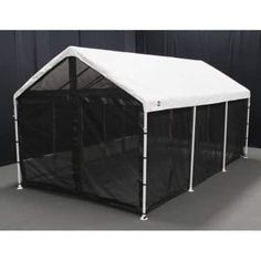 Bugs don't have any business at the party! The King Canopy 10 x 20 ft. Black Canopy Screen Room Kit with Floor provides full protection against. Carport Canopy, Pvc Canopy, Portable Gazebo, Carport Plans, Screen House, Outdoor Cover, Tent Decorations, Canopy Cover, Kisses