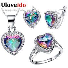 50% de descuento colorido cristal anillo de plata nupcial de la boda set de joyas pendientes collar de la joyería del corazón bijoux anel uloveido t481