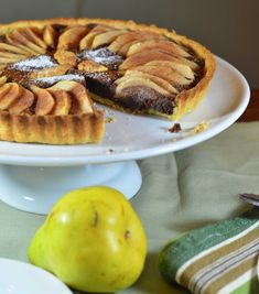 almond and pear chocolate flan — A Brown Table