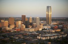 Enjoy scenic views from downtown Oklahoma City as you explore the Bricktown Entertainment District.