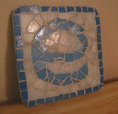 DIY letter mosaic coaster