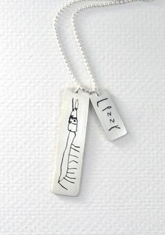 Jewelry made from a child's artwork that you can still order in time for Christmas. Ooh, such a  special gift.