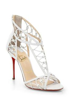 Zapatos de mujer - Womens Shoes - Christian Louboutin Martha T-Strap Leather Sandals Pretty Shoes, Beautiful Shoes, Zapatos Shoes, Shoes Heels, Christian Louboutin Shoes, Louboutin Pumps, Hot Shoes, Leather Sandals, Women Accessories