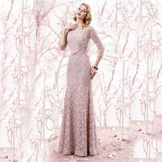 Find More Evening Dresses Information about Elegant Dusty Rose Mermaid Lace Evening Dresses 2016 with Sleeves Long Mother of the bride dress Long Party Prom Gowns VE52,High Quality Evening Dresses from LaceBridal on Aliexpress.com