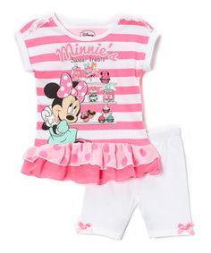 Another great find on #zulily! Pink Stripe Minnie Mouse Drop-Waist Dress & Shorts - Toddler by Bentex #zulilyfinds