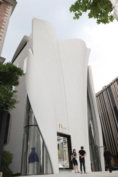 First 'House of Dior' store in South Korea. Seoul Gangnam-Gu, Interiors by Peter Marino. Architecture Design, Organic Architecture, Facade Design, Beautiful Architecture, Contemporary Architecture, Exterior Design, Building Exterior, Building Facade, Building Design