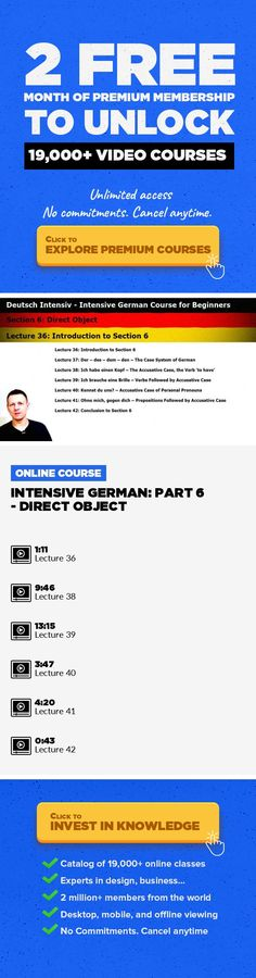 Intensive German: Part 6 - Direct Object Lifestyle, German, Languages #onlinecourses #writingskills #teachingskills   Students will be able to make more complex sentences by completing the verb with a direct object. They will also get familiar with the German system of cases.
