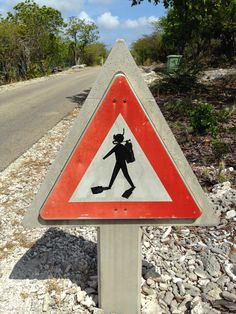 Scuba divers crossing! Road sign in Bonaire.