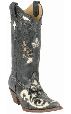Corral® Ladies Black w/ White Inlay Western Boots