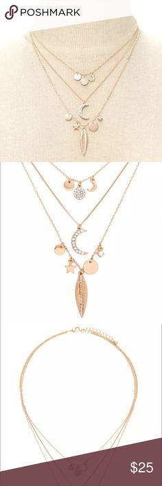 New Gold Necklace & Charms Beautiful Gold plated 3 layered Necklace with charms and rhinestones. Simple and on trend. Jewelry Necklaces
