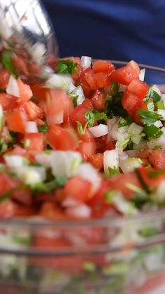 Pico de Gallo is a fresh tomato salsa and is something we keep in our fridge at all times. Its simple and quick to make and works with just about anything. Scoop it up with tortilla chips or serve on top of your favorite tacos enchiladas or nachos. Mexican Dishes, Mexican Food Recipes, Vegetarian Recipes, Cooking Recipes, Healthy Recipes, Appetizer Recipes, Salad Recipes, Salsa Canning Recipes, Seafood Appetizers