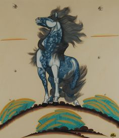 Magnificent Blue Stallion by Quincy Tahoma, Diné - Navajo Nation, (1917-1956)