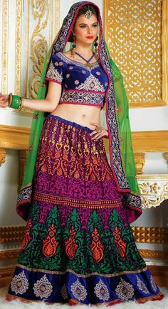 Luscious Magenta & Royal Blue #Lehenga #Choli