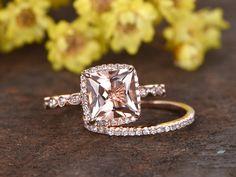 2.5 Carat Morganite Bridal Set 14k Rose Gold Diamond Princess Engagement Ring Cushion Halo Stacking Matching Band