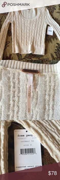 NWT free people oatmeal sweater Cropped scoop-neck sweater oatmeal color Free People Sweaters Crew & Scoop Necks