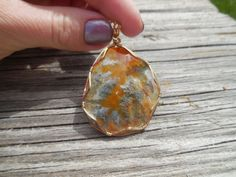 Gorgeous, handmade Graveyard Point Agate, Wrapped in 14k Gold Wire Pendant by WrappedStoneWonders on Etsy