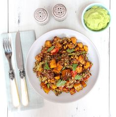Roasted Squash and Pine Nut Quinoa with Guacamole Cream Sauce- perfect for a healthy fall!
