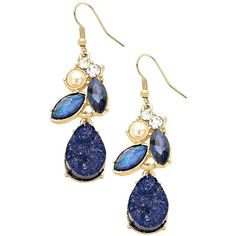 Amazon.com: Navy Blue Crystal Gems Faux Pearl Druzy Earrings: Jewelry (645 UYU) ❤ liked on Polyvore featuring jewelry, earrings, crystal gem jewelry, navy blue earrings, crystal earrings, drusy jewelry and gem earrings