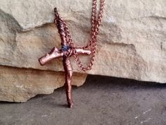 Organic Wirewrapped Copper Twig Cross Relic by JennieVargasJewelry,