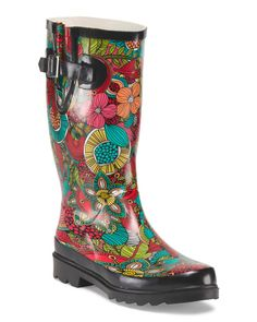 Floral Fantasy Rain Boot They are fun to wear under the rain!!! And in TJMaxx great price $19.99!