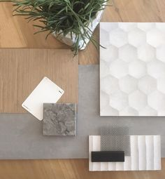 A gorgeous neutral take on modern finishes. We love this materials palette for a project we are working on in Randwick. can't wait to see it all come to life early next year. Mood Board Interior, Interior Design Boards, Decor Interior Design, Interior Decorating, Modern Interior, Material Board, Design Palette, Colour Board, Colour Schemes
