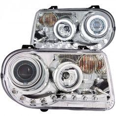 Anzo 121250   2006 Chrysler 300 Chrome/Clear CCFL Halo Projector Headlights for Sedan
