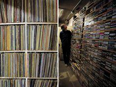 "virtchu: "" artistiq-ue: "" Thurston Moore's (Sonic Youth) basement "" This is beautiful "" Vinyl Record Storage, Record Shelf, Vinyl Junkies, Record Collection, Live Long, Music Stuff, Vinyl Records, Basement, House Styles"